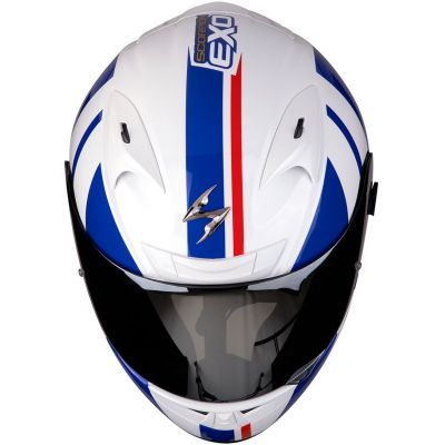 CASCO SCORPION EXO 710 AIR GT WHITE-BLUE-RED T.S 1